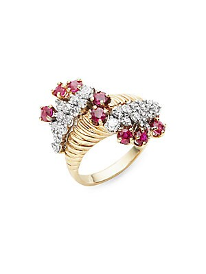 Click here for White Diamond  Ruby & 14K Yellow Gold Ring prices