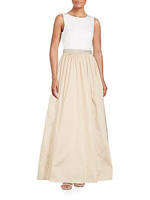 Sleeveless Embellished Waist Gown