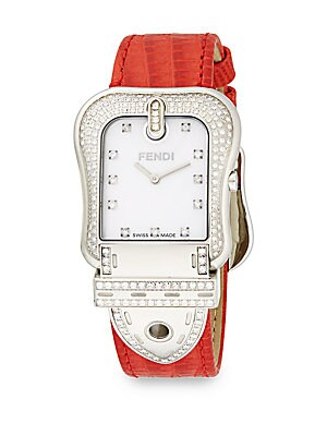 B. Fendi Diamond, Mother-Of-Pearl, Stainless Steel & Stingray Watch