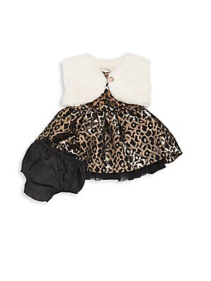Baby's Leopard-Print Metallic Jacquard Dress, Faux Fur Bolero & Satin Bloomer Set