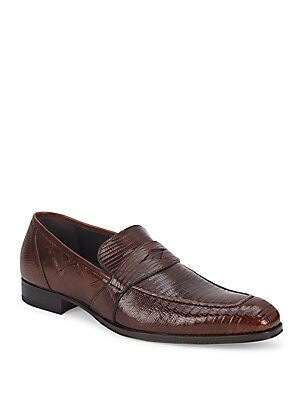Textured Leather Penny Loafers