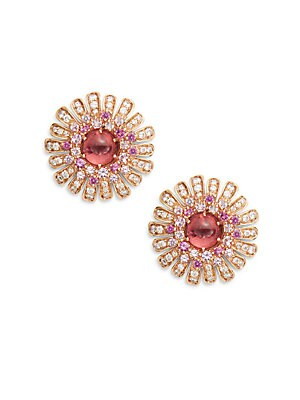 0.65 TCW Diamond, Sapphire, Tourmaline & 18K Rose Gold Earrings
