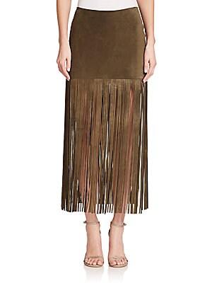Mini Suede Fringe Maxi Skirt
