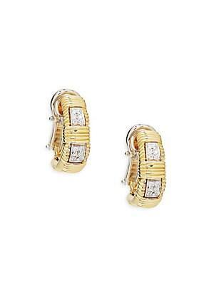 18K Yellow Gold & Diamond Single Row Earrings