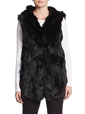 Hooded Rabbit Fur Vest