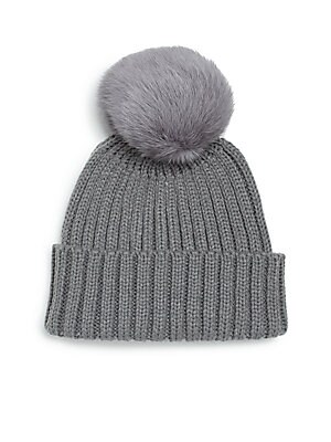 Rib-Knit Rabbit Fur Pom-Pom Hat