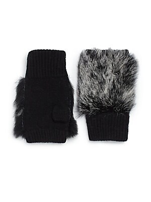 Knit Fingerless Fur Gloves