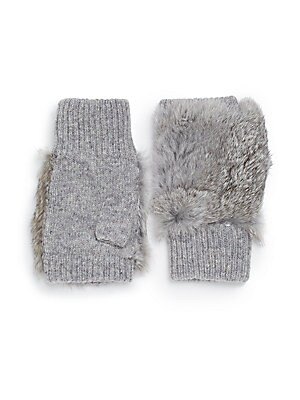 Rabbit Fut-Trimmed Fingerless Gloves