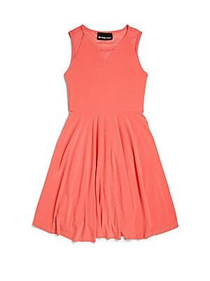 Girl's Mesh-Inset Dress