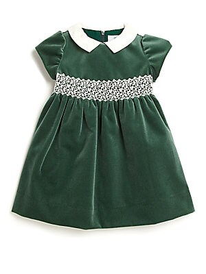 Little Girl's Lace-Trim Velvet Dress