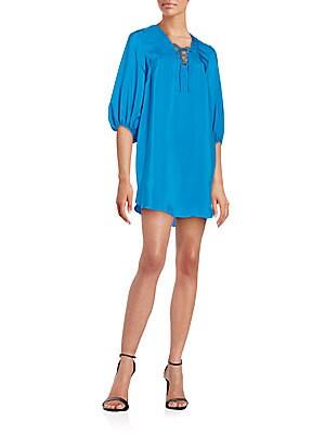 Silk Lace-Up Shift Dress