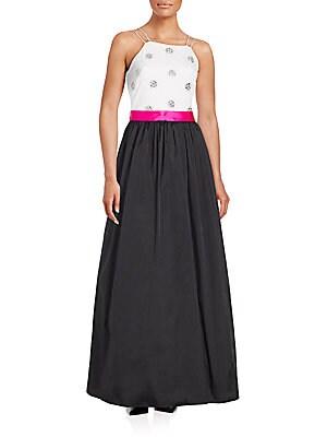 Colorblock Squareneck Gown