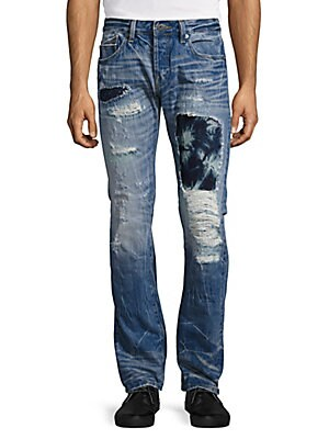 Rebel Distressed Tie-Dyed Straight-Leg Jeans