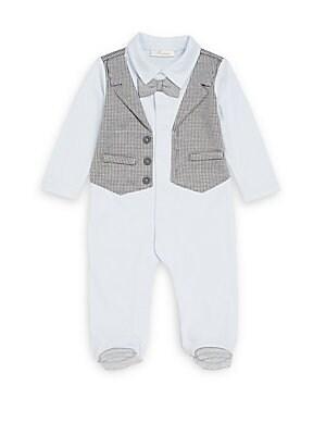 Baby's Houndstooth Mock Vest Footie