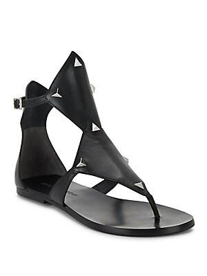 Bamona Studded Leather Thong Sandals