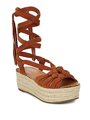 Cosie Lace-Up Suede Espadrille Platform Sandals