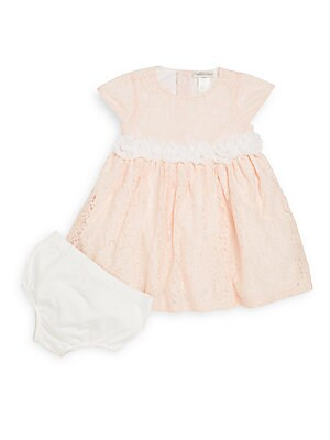 Baby's Rosette-Detail Floral Lace Dress & Bloomers