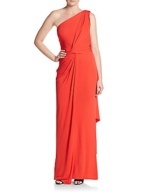 One Shoulder Solid Draped Gown
