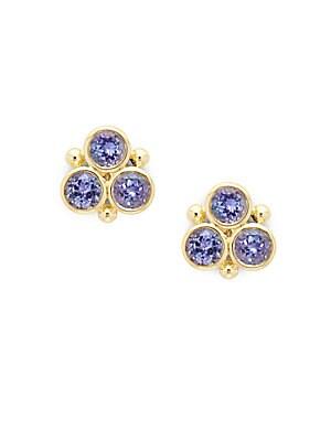 Tanzanite & 18K Yellow Gold Stud Earrings