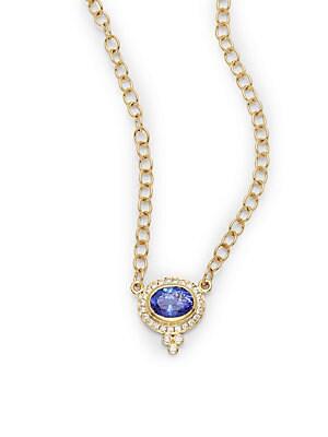 Diamond, Tanzanite & 18K Yellow Gold Necklace