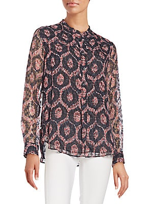 Mockneck Relaxed Fit Printed Top