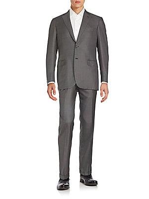 Regular-Fit Tonal Windowpane Wool & Silk Suit