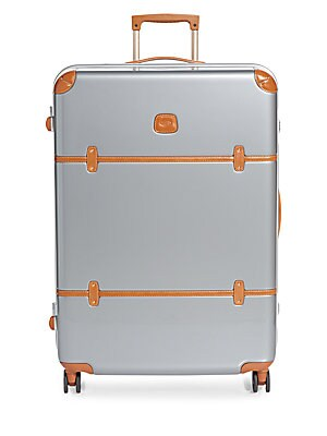 32-Inch Leather-Trimmed Spinner Suitcase