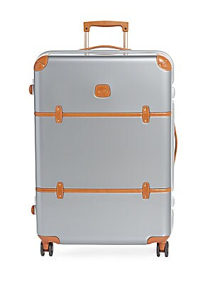 30-Inch Leather-Trimmed Spinner Suitcase