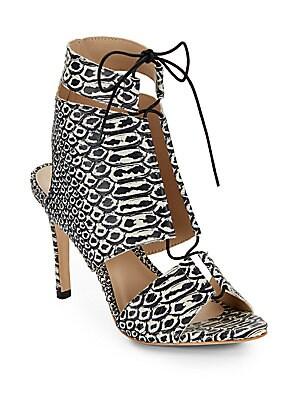 Anaconda Leather Lace-Up Sandals
