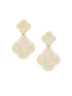 Cubic Zirconia, 14K Yellow Gold & Sterling Silver Drop Earrings
