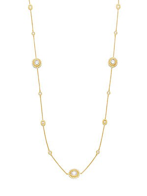 Sunburst Pave Cubic Zirconia & 14K Yellow Gold Necklace