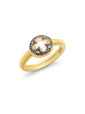 Cubic Zirconia & 14K Gold-Plated Silver Ring