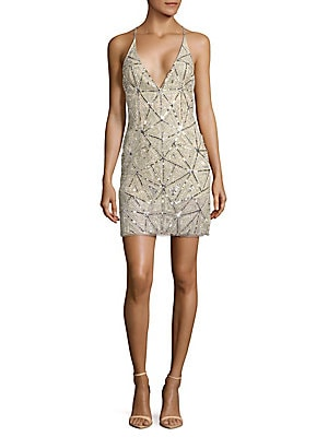 Crisscross Back Sequined Dress