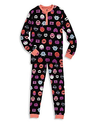 Toddler's & Little Girl's Two-Piece Printed Henley Top and Pants Set