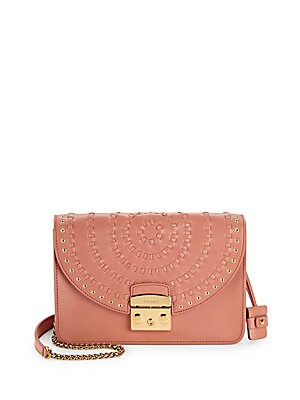 Strap Accented Leather Crossbody Bag