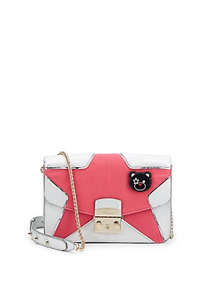Colorblock Star Leather Handbag