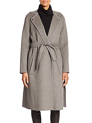 Belted Stretch-Wool Coat