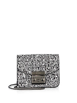 Monochrome Printed Leather Crossbody Bag
