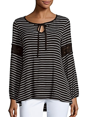 Striped High-Low Top