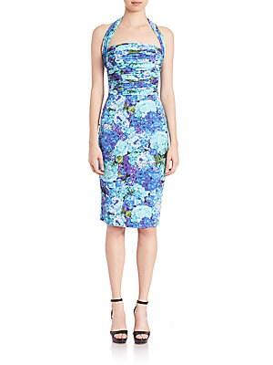 Ruched-Top Halter Dress
