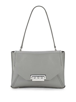 Leather Silvertone Handbag