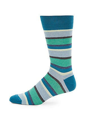Striped Cotton-Blend Mid-Calf Socks