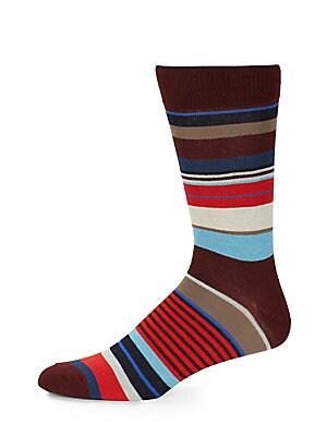 Cotton-Blend Variegated Stripe Socks