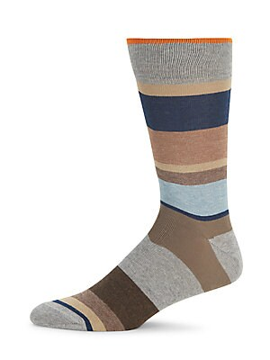 Striped Combed Cotton-Blend Socks
