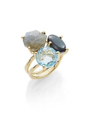 Rock Candy Blue Topaz, Clear Quartz Hematite, Labradorite & 18K Yellow Gold Ring
