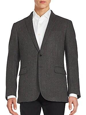 Herringbone Textured Wool Blazer