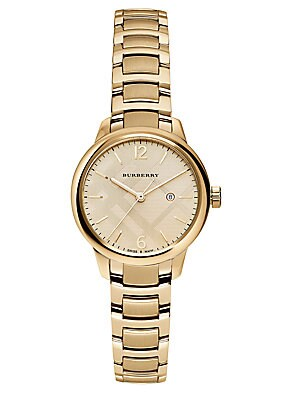 Goldtone Stainless Steel Check Etched Bracelet Watch