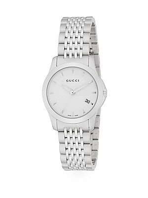 G-Timeless Stainless Steel Bracelet Watch/White