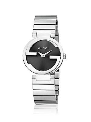Interlocking Stainless Steel Bracelet Watch/Black