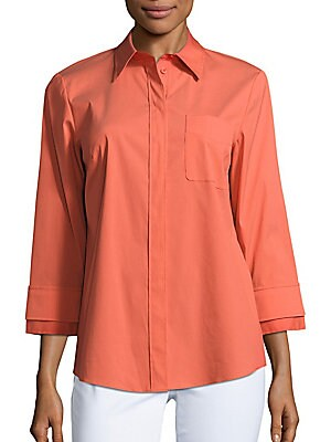 Cotton-Blend Solid Shirt